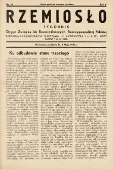Rzemiosło : organ Związku Izb Rzemieślniczych Rzeczypospolitej Polskiej. 1936, nr18