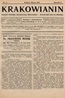 Krakowianin : organ Towarz. Właścicieli Realności. R.2, 1910, nr5