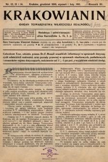 Krakowianin : organ Towarzystwa Właścicieli Realności. R.3, 1910/1911, nr 12, 13 i 14