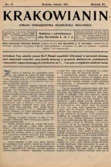 Krakowianin : organ Towarzystwa Właścicieli Realności. R.3, 1911, nr15