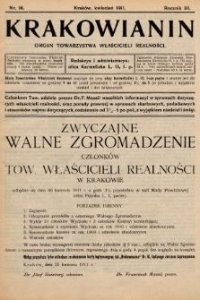 Krakowianin : organ Towarzystwa Właścicieli Realności. R.3, 1911, nr16