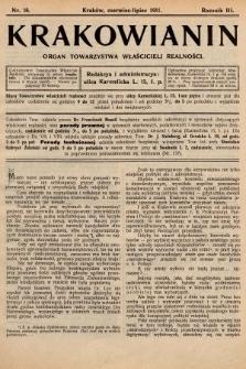 Krakowianin : organ Towarzystwa Właścicieli Realności. R.3, 1911, nr18