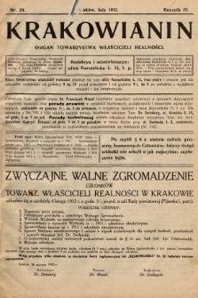 Krakowianin : organ Towarzystwa Właścicieli Realności. R.4, 1912, nr24