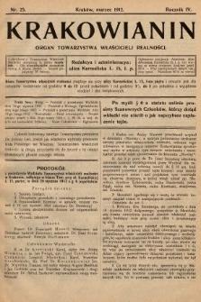 Krakowianin : organ Towarzystwa Właścicieli Realności. R.4, 1912, nr25