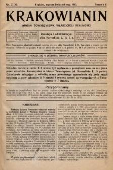 Krakowianin : organ Towarzystwa Właścicieli Realności. R.5, 1913, nr37-39
