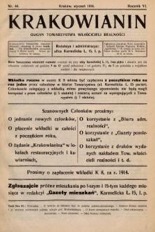 Krakowianin : organ Towarzystwa Właścicieli Realności. R.6, 1914, nr44