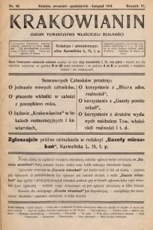 Krakowianin : organ Towarzystwa Właścicieli Realności. R.6, 1914, nr48