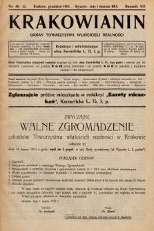 Krakowianin : organ Towarzystwa Właścicieli Realności. R.7, 1914/1915, nr49-52