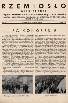 Rzemiosło : organ Samorządu Gospodarczego Rzemiosła. 1939, nr 8