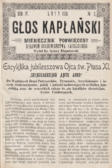 Głos Kapłański : miesięcznik poświęcony sprawom duchowieństwa katolickiego. 1930, nr2