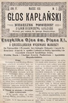 Głos Kapłański : miesięcznik poświęcony sprawom duchowieństwa katolickiego. 1930, nr3