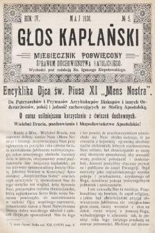 Głos Kapłański : miesięcznik poświęcony sprawom duchowieństwa katolickiego. 1930, nr5