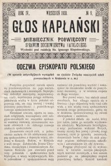 Głos Kapłański : miesięcznik poświęcony sprawom duchowieństwa katolickiego. 1930, nr9