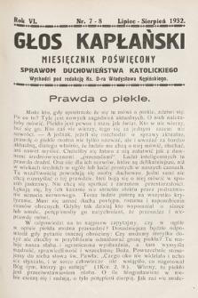 Głos Kapłański : miesięcznik poświęcony sprawom duchowieństwa katolickiego. 1932, nr7-8