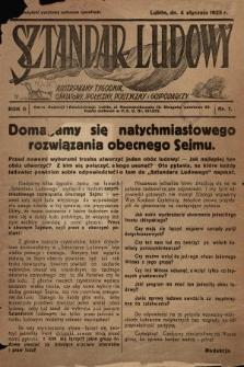 Sztandar Ludowy : ilustrowany tygodnik oświatowy, społeczny, polityczny i gospodarczy. 1925, nr1