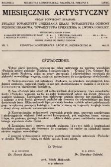 Miesięcznik Artystyczny : organ poświęcony sprawom: Związku Towarzystw Upiększenia Kraju, Towarzystwa Ochrony Piękności Krakowa, Towarzystwa Upiększenia M. Lwowa i Okolicy. 1912, nr7