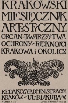Miesięcznik Artystyczny : organ Towarzystwa Ochrony Piękności Krakowa i Okolicy. 1913, nr7, 8