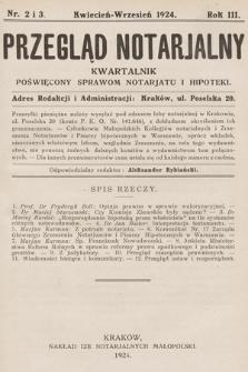Przegląd Notarjalny : kwartalnik poświęcony sprawom notarjatu i hipoteki. 1924, nr2-3