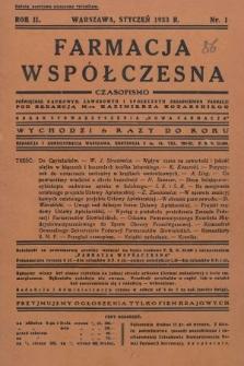 """Farmacja Współczesna : czasopismo poświęcone naukowym, zawodowym i społecznym zagadnieniom farmacji : organ Stowarzyszenia """"Nowa Farmacja"""". 1933, nr1"""