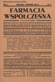 """Farmacja Współczesna : czasopismo poświęcone naukowym, zawodowym i społecznym zagadnieniom farmacji : organ Stowarzyszenia """"Nowa Farmacja"""". 1933, nr4"""