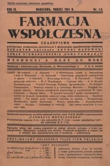 """Farmacja Współczesna : czasopismo poświęcone naukowym, zawodowym i społecznym zagadnieniom farmacji : organ Stowarzyszenia """"Nowa Farmacja"""". 1934, nr1-2"""