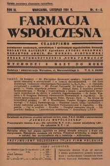 """Farmacja Współczesna : czasopismo poświęcone naukowym, zawodowym i społecznym zagadnieniom farmacji : organ Stowarzyszenia """"Nowa Farmacja"""". 1934, nr4-5"""
