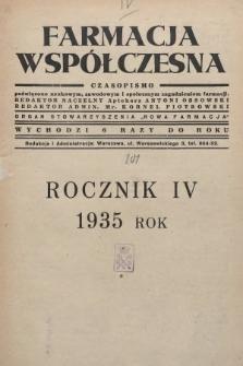 """Farmacja Współczesna : czasopismo poświęcone naukowym, zawodowym i społecznym zagadnieniom farmacji : organ Stowarzyszenia """"Nowa Farmacja"""". 1935, spis rzeczy zawartych w roczniku 1934"""