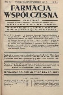 """Farmacja Współczesna : czasopismo poświęcone naukowym, zawodowym i społecznym zagadnieniom farmacji : organ Stowarzyszenia """"Nowa Farmacja"""". 1937, nr3-4"""