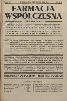 """Farmacja Współczesna : czasopismo poświęcone naukowym, zawodowym i społecznym zagadnieniom farmacji, łącznie z dodatkiem naukowym p. n. """"Acta Poloniae Pharmaceutica"""" : organ Stowarzyszenia """"Nowa Farmacja"""". 1937, nr5-6"""