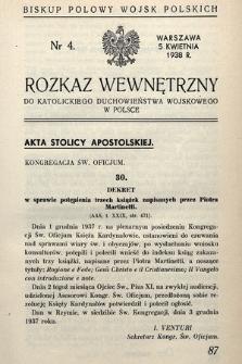 Rozkaz Wewnętrzny do Katolickiego Duchowieństwa Wojskowego w Polsce. 1938, nr4