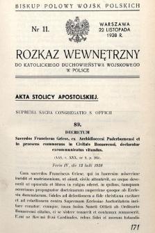 Rozkaz Wewnętrzny do Katolickiego Duchowieństwa Wojskowego w Polsce. 1938, nr11