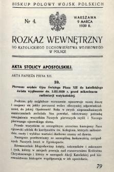 Rozkaz Wewnętrzny do Katolickiego Duchowieństwa Wojskowego w Polsce. 1939, nr4