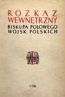 Rozkaz Wewnętrzny Biskupa Polowego Wojsk Polskch. 1938 [całość]