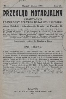 Przegląd Notarjalny : kwartalnik poświęcony sprawom notarjatu i hipoteki. 1927, nr1