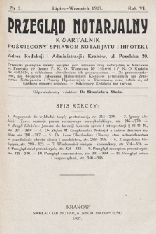 Przegląd Notarjalny : kwartalnik poświęcony sprawom notarjatu i hipoteki. 1927, nr3