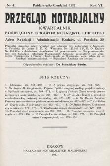 Przegląd Notarjalny : kwartalnik poświęcony sprawom notarjatu i hipoteki. 1927, nr4