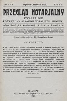 Przegląd Notarjalny : kwartalnik poświęcony sprawom notarjatu i hipoteki. 1929, nr1-2