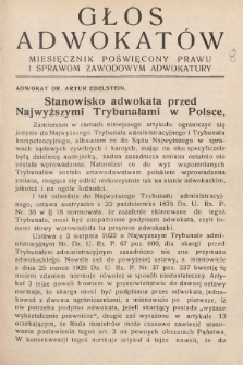 Głos Adwokatów : miesięcznik poświęcony prawu i sprawom zawodowym adwokatury. 1926, [z. 8]
