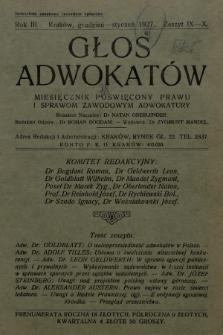 Głos Adwokatów : miesięcznik poświęcony prawu i sprawom zawodowym adwokatury. 1926/1927, z. 9-10