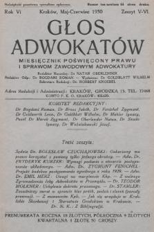 Głos Adwokatów : miesięcznik poświęcony prawu i sprawom zawodowym adwokatury. 1930, z. 5-6