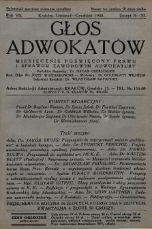 Głos Adwokatów : miesięcznik poświęcony prawu i sprawom zawodowym adwokatury. 1932, z. 10-11