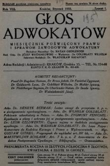 Głos Adwokatów : miesięcznik poświęcony prawu i sprawom zawodowym adwokatury. 1933, z. 1