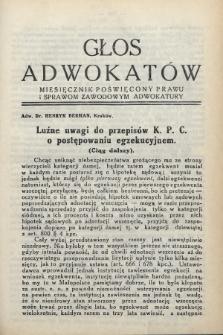 Głos Adwokatów : miesięcznik poświęcony prawu i sprawom zawodowym adwokatury. 1933, [z. 6]