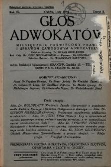 Głos Adwokatów : miesięcznik poświęcony prawu i sprawom zawodowym adwokatury. 1934, z. 2