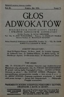 Głos Adwokatów : miesięcznik poświęcony prawu i sprawom zawodowym adwokatury. 1934, z. 5