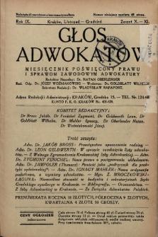 Głos Adwokatów : miesięcznik poświęcony prawu i sprawom zawodowym adwokatury. 1934, z. 10-11