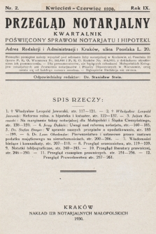 Przegląd Notarjalny : kwartalnik poświęcony sprawom notarjatu i hipoteki. 1930, nr2