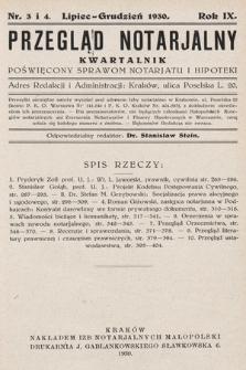 Przegląd Notarjalny : kwartalnik poświęcony sprawom notarjatu i hipoteki. 1930, nr3-4