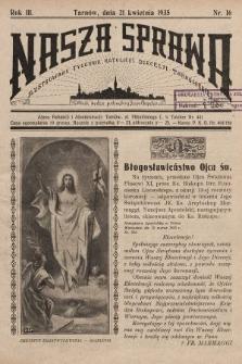 Nasza Sprawa : ilustrowany tygodnik katolicki Diecezji Tarnowskiej. 1935, nr16