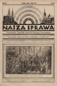 Nasza Sprawa : ilustrowany tygodnik katolicki Diecezji Tarnowskiej. 1935, nr18
